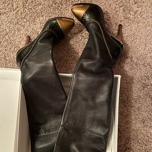 Versace Leather Thigh High Black Boot 6